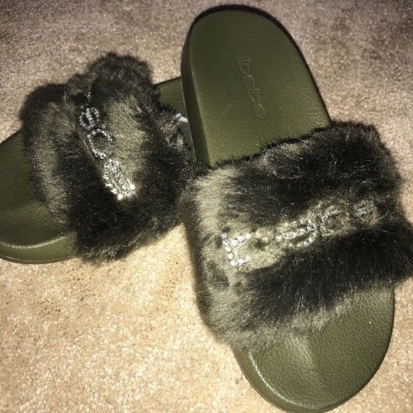 3ec82caeff62 bebe Shoes - Bebe Furiosa Bling Army Green Faux Fur Rhinestone